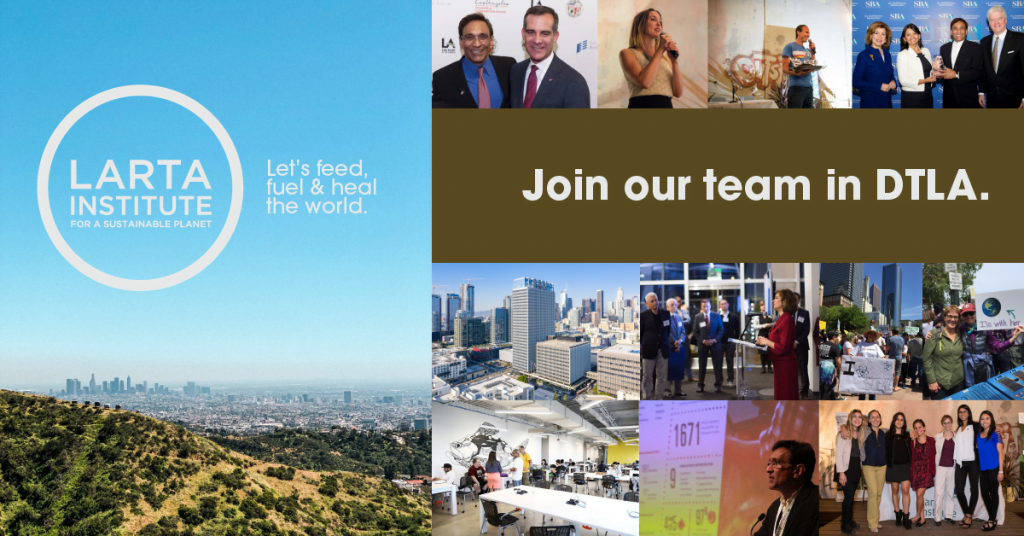 image of los angeles with text join our team in DTLA and a collage of business events