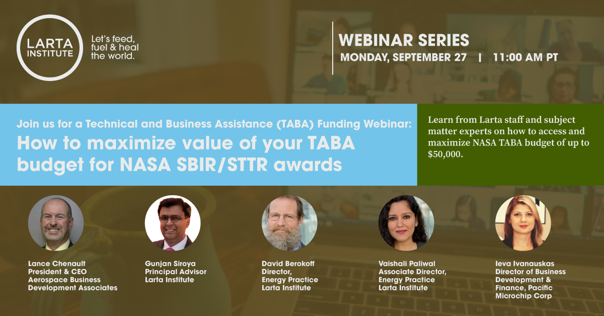 How to maximize value of your TABA budget for NASA SBIR/STTR awards